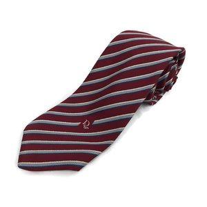 "Christian Dior Mens Tie, Red Silver Striped 54"""